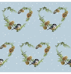 Winter birds retro background - seamless pattern vector