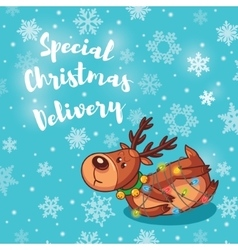 Special christmas delivery holiday card with cute vector