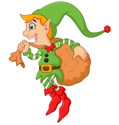 Cartoon cute elf boy with sack vector