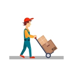 Delivery man with cart and carton boxes vector