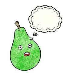 Cartoon pear with thought bubble vector