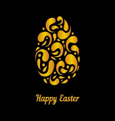 Greeting card with gold easter egg-2 vector