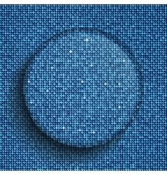 Glass circle button on shiny blue sequins vector