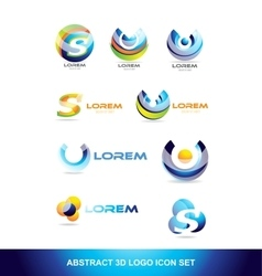Abstract sphere icon logo set vector
