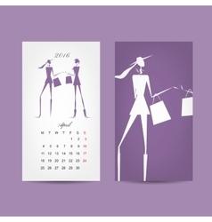 Calendar 2016 grid fashion girls design vector