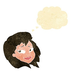 cartoon happy female face with thought bubble vector image vector image