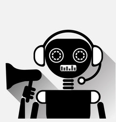 Chatbot holding megaphone icon concept black chat vector