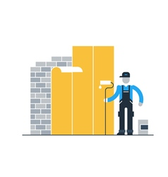 Construction worker finishing brick wall vector