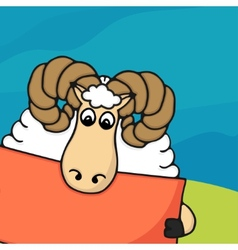 Cute hand drawn sheep with empty banner vector