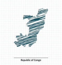 Doodle sketch of republic of congo map vector