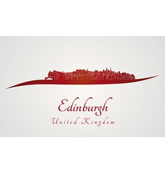 Edinburgh skyline in red vector
