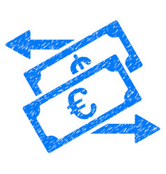 Euro currency exchange grunge icon vector