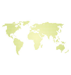 green halftone world map of small dots in linear vector image