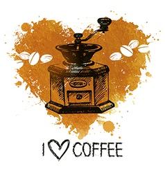 Hand drawn vintage coffee background with splash vector