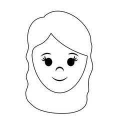 Happy woman with long hair icon image vector