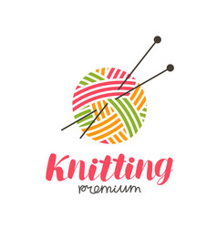knitting logo or label needlework knit ball of vector image