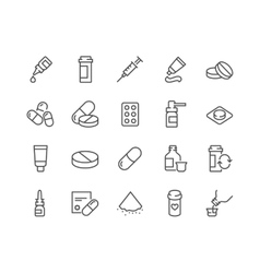 Line pills icons vector