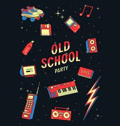 Old school elements set retro and disco vector