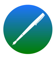 Pen sign white icon in vector