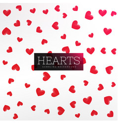red hearts pattern background vector image