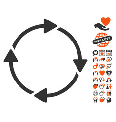 rotation icon with valentine bonus vector image vector image