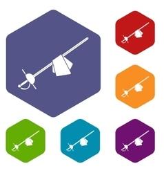 Saber icons set vector image