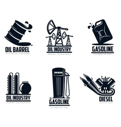 Set of logos with oil and petrol station vector