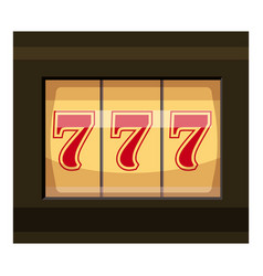 Slot machine with three sevens icon cartoon style vector