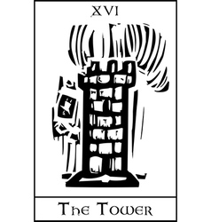 Tower Tarot Card vector image vector image