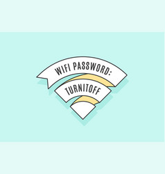 vintage ribbon wifi sign for free wi-fi in cafe or vector image vector image