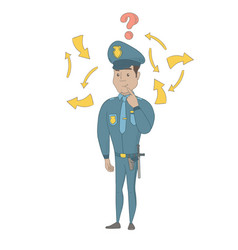 Young hispanic policeman with question mark vector