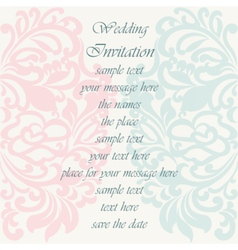 Wedding invitation card with ornaments vector