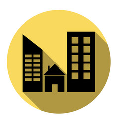 Real estate sign  flat black icon with vector