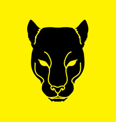 black panther head puma face leopard tiger vector image