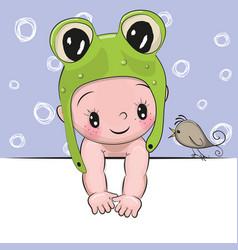 cute cartoon baby boy and a bird vector image