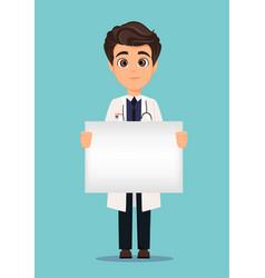 Medical doctor in white coat holding blank banner vector
