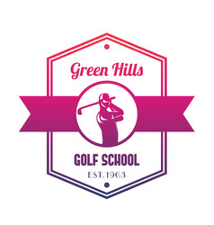 golf school logo emblem with golfer swinging club vector image