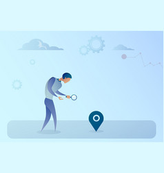 Business man searching for destination on digital vector