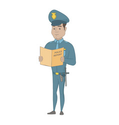 Hispanic police officer holding a police report vector