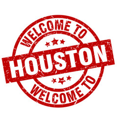 Welcome to houston red stamp vector