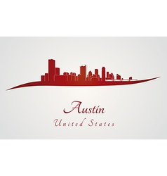 Austin skyline in red vector image