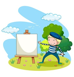 Artist painting on canvas in the garden vector