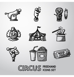 Set of circus freehand icons with - clown cannon vector