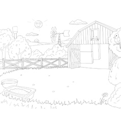 Cartoon farm color book black and white outline vector