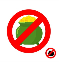 Stop leprechaun gold forbidden flower pot with vector