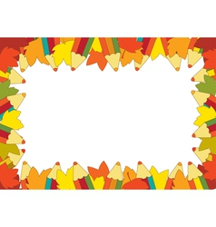 Autumn pencil frame vector