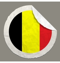 Belgium flag on a paper label vector