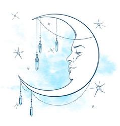 Blue crescent moon with moonstone pendants vector
