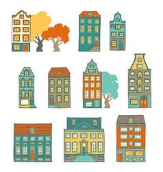 Bright hand-drawn buildings vector