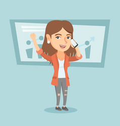 Caucasian business woman talking on mobile phone vector